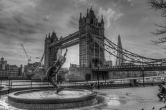 Tower Bridge - London (myfrozenlife) Tags: uk trip travel bridge vacation england blackandwhite bw white black london towerbridge mono awesome awsome explore hdr explored