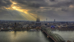 The sky over Cologne (Fil.ippo) Tags: light panorama skyline nikon cityscape cathedral cologne kln beam colonia hdr filippo klntriangle d7000 filippobianchi