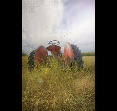 When The Work Is Done (DeVaughnSquire) Tags: old tractor history abandoned grass thanks vintage farm country farming rustic wheels textures forgotten prairie agriculture prairies past oldendays