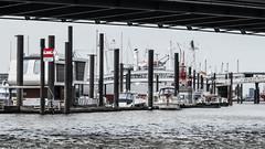 der Weg in die erste Reihe (mahohn) Tags: bridge water river wasser ship hamburg hafen brcke 169 schiff elbe flus fujix10