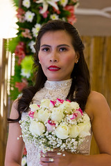 Wedding Bride with Beautiful Red and White Roses Bouquet (WOW Philippines Travel Agency) Tags: wedding bride groom flowers roses bouquet food weddingfood cake philippines filet mignon bearnaise sauce ravioli duck liver smoked salmon parmesan cutting display pink icing table party setup rings beautiful cream artichoke soup canonigo mango balls