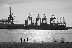 work & leisure / a day like spring (Özgür Gürgey) Tags: 2017 50mm bw d750 elbe hamburg nikon container cranes glitter harbor silhouettes