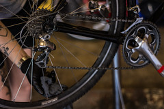 getting her ready for WTF Bike Ride (sacbikekitchen) Tags: sacramento sbk sacramentobikekitchen bicycle bikeride bontrager cyclocross duraace shimano wtf fuckyea fuckyeah yee bike xc bicyclekitchen thekitchen suppers wassuppers
