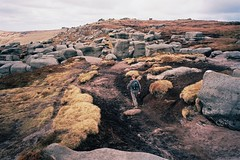 (Aage Drake) Tags: mountain film 35mm walking landscape view sculptural rambling gritstone kinderscout ricohgr1s kodakektar100