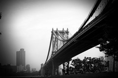 Manhattan Bridge (mikerastiello) Tags: newyorkcity blackandwhite newyork brooklyn manhattan manhattanbridge brooklynny brooklynnewyork