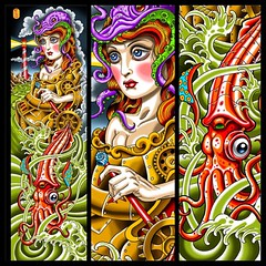 Cheri Cephalapod... Going to make prints of this for the steampunk show at Respectables June 19 #steampunk #steampunktattoo #squid #cephalapod