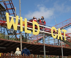 The Wild Cat Coaster (Tony Worrall Foto) Tags: park uk family vacation england people sun yellow metal kids children fun seaside holidays ride northwest candid north sunny bluesky fair visit tourist resort event sunlit excitement coaster funfair excite southport thrill southportpleasureland 2013tonyworrall