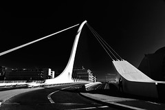 saturday morning (zip po) Tags: street morning bridge ireland blackandwhite dublin mono samuelbeckettbridge