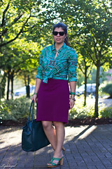 teal paisley.jpg (LyddieGal) Tags: fashion spring outfit purple teal mint style wardrobe tjmaxx jcrew rayban frye londonfog pencilskirt lydellnyc lingerrose