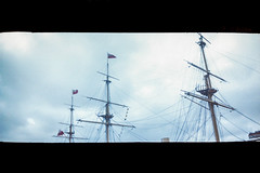 Masts of HMS Warrior - Portsmouth - Summer 2012 (old_skool_paul) Tags: ocean city uk sea summer people panorama music holiday colour beautiful june festival 35mm vintage point boats tickets island photography amazing lomo lomography media shoot artist sailing moody skateboarding live jubilee south ships sunday crowd navy may royal july saturday style bank august victory scan historic lightleak southern negative 200 solent confused portsmouth sail strong series shipping leak refreshing ilford halina dazed 2012 panaoramic hms dockyard victorious hmswarrior 2013 tumblr