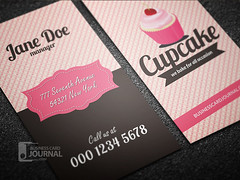 Retro Style Cupcake Business Card Template (Meng Loong) Tags: vertical baker creative free retro cupcake businesscards bakery download psd template namecard visitingcard callcard businesscarddesign businesscardtemplate