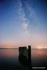 Hecla Milky Way (/ shadows and light) Tags: blue water stars pier dock manitoba galaxy shore nightsky milkyway lakewinnipeg heclaisland