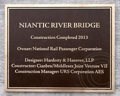 Niantic River Bridge Plaque, East Lyme-Waterford, Connecticut (jag9889) Tags: railroad bridge plaque river crossing connecticut tracks bridges ct rail trains historic amtrak marker draw nan