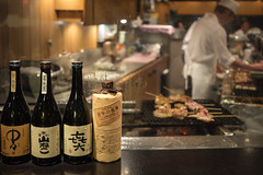 Shochu, yakitori & cook (koalie) Tags: vacation food japan dinner restaurant tokyo bottle nightshot cook meat jp barbecue yakitori minato shochu 2013060727japan