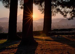 Sunrise over Mount Hood, Mount Tabor Park