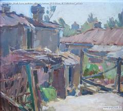 Romualdo Prati Case rustiche olio su cartone 27,5x29cm di Collezione privata