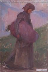 Romualdo Prati Contadina dal ritorno dai campi 1912 olio su tavola bozzetto 35x24cm Collezione privata