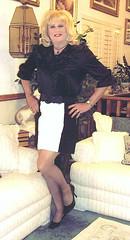 Black and White Skirt (bobbievnc) Tags: black tv highheels legs cd skirt tgirl short blonde pantyhose crossdresser nylons shemale shortskirt tightskirt tanpantyhose
