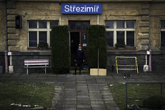 eleznin stanice Stezim (-dangler) Tags: travel winter woman building public hat train cat outside outdoors europe random skirt trainstation czechrepublic inuniform fromamovingtrain stanice eleznin dandangler stezim
