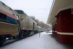 Downeaster equipment move (t55z) Tags: railroad winter snow train massachusetts amtrak trainstation laundromat haverhill downeaster npcu bostonmainerailroad cabbagecar