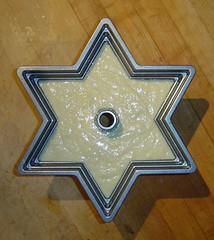 Arthur had gotten me a Star of David bundt cake pan for a Hanukkah present, and here it is filled with vegan coconut-lemon cake (from Veganomicon) batter, ready to go into the oven (Tan Tachyon) Tags: food cakes 2014 lemoncakes veganomicon bundtcakes vegancakes coconutcakes starofdavidcakes