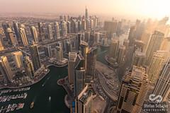Dubai Marina Sunset (stefanschaefer90) Tags: above city blue sunset sun rooftop water night marina evening dubai cityscapes hour luxury height infinitytower