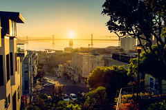 Sunrise over the San Francisco Bay - seen from Telegraph Hill (lambertwm) Tags: sanfrancisco sunrise coittower baybridge embarcadero telegraphhill