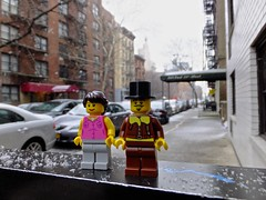 A snowy arrival (In my hands they crumble) Tags: winter anna snow newyork cold cars buildings outdoors arthur december lego snowing minifigs 14th minifigures 2013