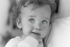 Babys got blue eyes (Paul O'B) Tags: portrait bw infant child natural blueeyes naturallight offshoot