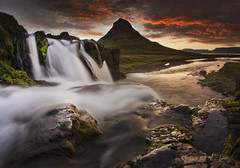 Panofell (KasparsDz) Tags: travel mountain nature clouds sunrise river landscape waterfall iceland stream dramatic kirkjufell