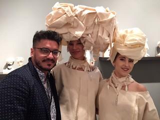 Venezuelan designer Luis Valenzuela with models at the Creators Lab booth at the art Wynwood opening night