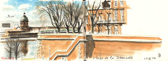 170309 Place de la Daurade (Vincent Desplanche) Tags: toulouse urbansketchers carandache neocolor seawhiteofbrighton croquis watercolor aquarelle sketchbook daurade dessinersurlevif