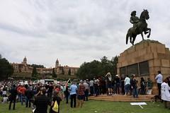 Under the watchful eye of Louis Botha... (Vaughanoblapski!) Tags: louisbotha statue unionbuildings pretoria savesouthafrica protest mandela march