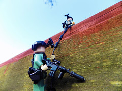Dropping In... (LegoInTheWild) Tags: army military brickarms sidan m4 nature rappel tactical special forces soldier