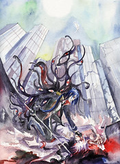 heaven_and_hell (Koganeiro) Tags: art watercolor fanart 100 69 169 gesso reborn mukuro rokudo byakuran