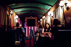 "Inside one of the ""train cars"" of at Gallow Green (thewanderingeater) Tags: nyc chelsea manhattan campari manhattancocktailclassic gallowgreen themckittrickhotel camparibartendersbash"