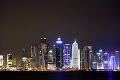 West Bay at night, Doha (nordic nomad) Tags: architecture doha westbay