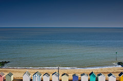 row of huts (Omar Parada) Tags: blue sea sky beach pentax horizon huts k5 felixtowe