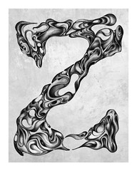 Letter Z (Adrianna Grezak) Tags: blackandwhite black art illustration photoshop grey sketch artwork drawing gray sketching creative surreal sketchbook adobe draw grayscale drawn edit greyscale
