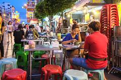 Dessert stall at night, China Town, Bangkok, Thailand (Dennis Wong) Tags: street food lady night thailand photography couple chinatown fuji bangkok pair thai fujifilm     xpro1 fuji18mmf2