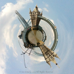 View from The Thames, a different perspective (Jamarem) Tags: bridge england sky london tower thames river tiny planet shard iphone4