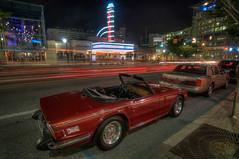AFI Silver Spring HDR (Brandon Kopp) Tags: red car night nikon classiccar automobile unitedstates maryland tokina dcist lighttrails silverspring hdr afi dtss d300 longexp photomatix afitheater 1116mm