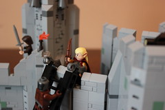 Haldir trying to repel the on-coming orcs (Vik_O) Tags: lego lordoftherings fortress tolkien rohan middleearth thetwotowers battleofhelmsdeep rohirrim