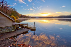 Sunrise from the Boathouse (PeterYoung1.) Tags: uk autumn beautiful reflections scotland scenic atmospheric ard lochard