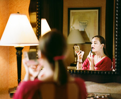 Getting ready for a date (Mariusz Murawski) Tags: people woman reflection mamiya film lamp girl face mediumformat hair hotel mirror evening model eyes flash makeup indoor lipstick 6x7 brunette speedlight mamiyarb67 kodakportra160 mamiyarb67prosd sb700 yn560ii martamurawska kll127mm