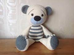Tummy Teddy again (bycreativehands) Tags: bear blue cute shop shopping pattern teddy handmade stripes crochet cream cotton buy amigurumi crocheted rowan