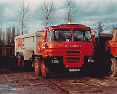 RMC - Hall Aggregates [ Thames Valley ] SCAMMELL  tipper - 18528 , CPE263T . Chertsey pit , Jan 1984. (busmothy) Tags:
