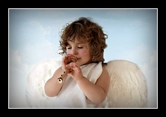 The Sounds of Olympus (Re-edit) (Portrait Central) Tags: lighting portrait brown white girl angel hair studio children greek photography photo wings toddler heaven child little curls flute eros curly photograph cherub cupid mythology toga whistle