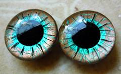 "Handpainted custom Blythe eyechips: Fine Lines ""Brown Turquoise"""