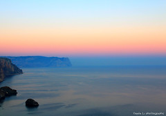 Soft crepe de chine of sunset enveloped liquid body of the sea (grce) Tags: sunset sea sky cliff seascape water skyline evening seaside twilight soft air ukraine shore maritime crimea vast pastelcolors